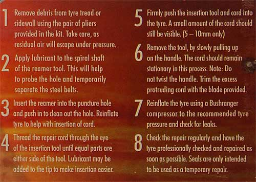 Car tire repair instructions